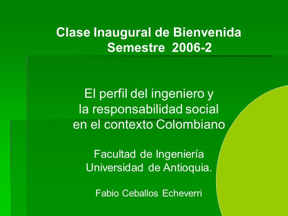 Clase Inaugural de Bienvenida Semestre 2006-2 El perfil del ingeniero y la responsabilidad social en el contexto Colombiano Facultad de Ingeniería Universidad de Antioquia.