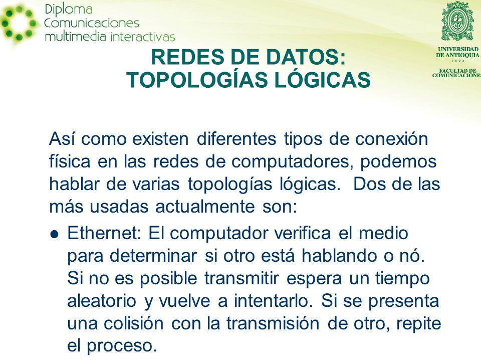 Así como existen diferentes tipos de conexión física en las redes de computadores, podemos hablar de varias topologías lógicas.