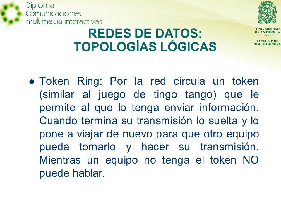 Token Ring: Por la red circula un token (similar al juego de tingo tango) que le permite al que lo tenga enviar información.