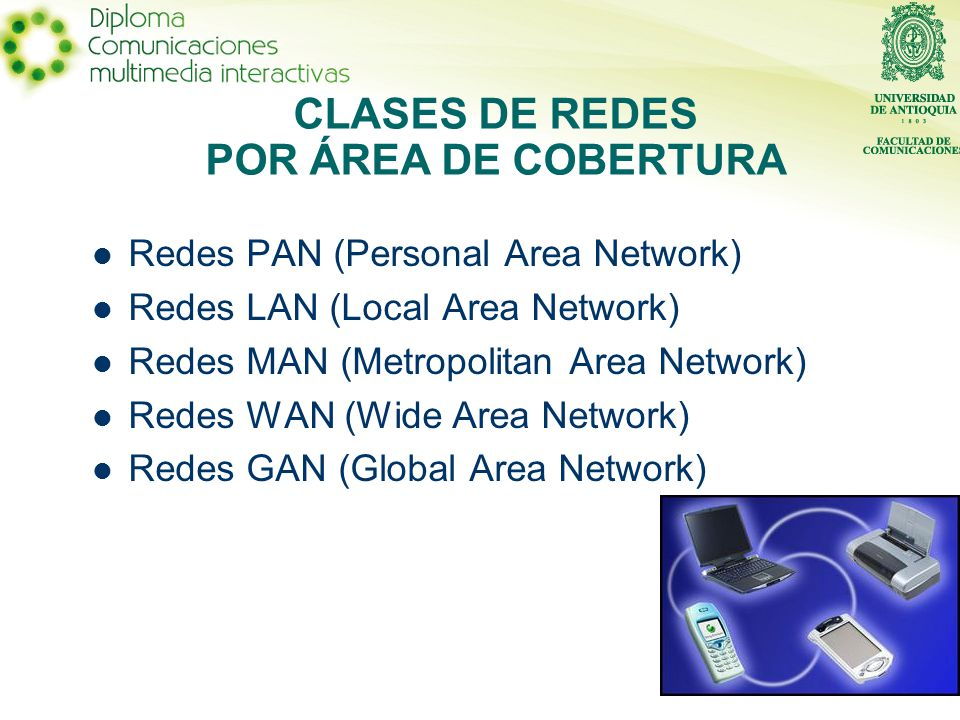Redes PAN (Personal Area Network) Redes LAN (Local Area Network) Redes MAN (Metropolitan Area Network) Redes WAN (Wide Area Network) Redes GAN (Global