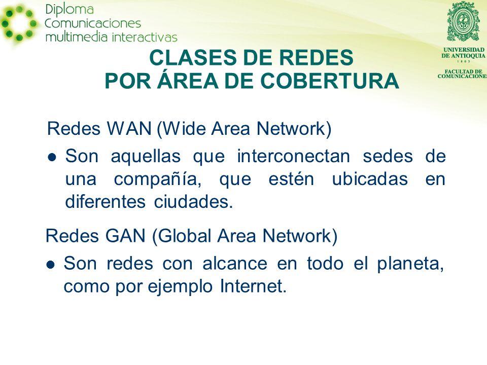 Redes WAN (Wide Area Network) Son aquellas que interconectan sedes de una compañía, que estén ubicadas en diferentes ciudades.