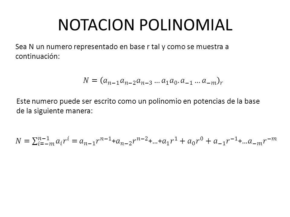 NOTACION POLINOMIAL Sea N un numero representado en base r tal y como se muestra a continuación: Este numero puede ser escrito como un polinomio en po