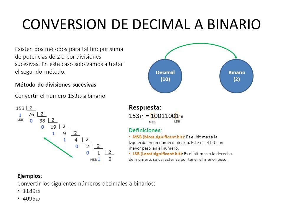 CONVERSION DE DECIMAL A BINARIO Decimal (10) Binario (2) Existen dos métodos para tal fin; por suma de potencias de 2 o por divisiones sucesivas. En e