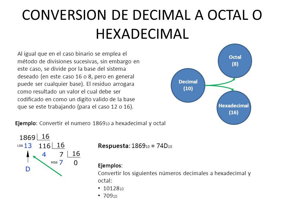CONVERSION DE DECIMAL A OCTAL O HEXADECIMAL Ejemplos: Convertir los siguientes números decimales a hexadecimal y octal: 10128 10 709 10 Respuesta: 186