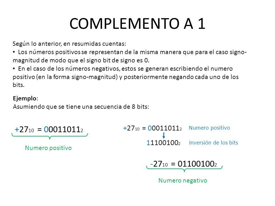 COMPLEMENTO A 1 Según lo anterior, en resumidas cuentas: Los números positivos se representan de la misma manera que para el caso signo- magnitud de m
