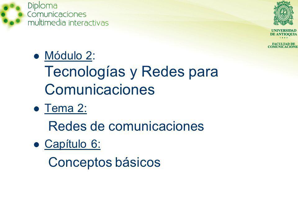 Módulo 2: Tecnologías y Redes para Comunicaciones Tema 2: Redes de comunicaciones Capítulo 6: Conceptos básicos
