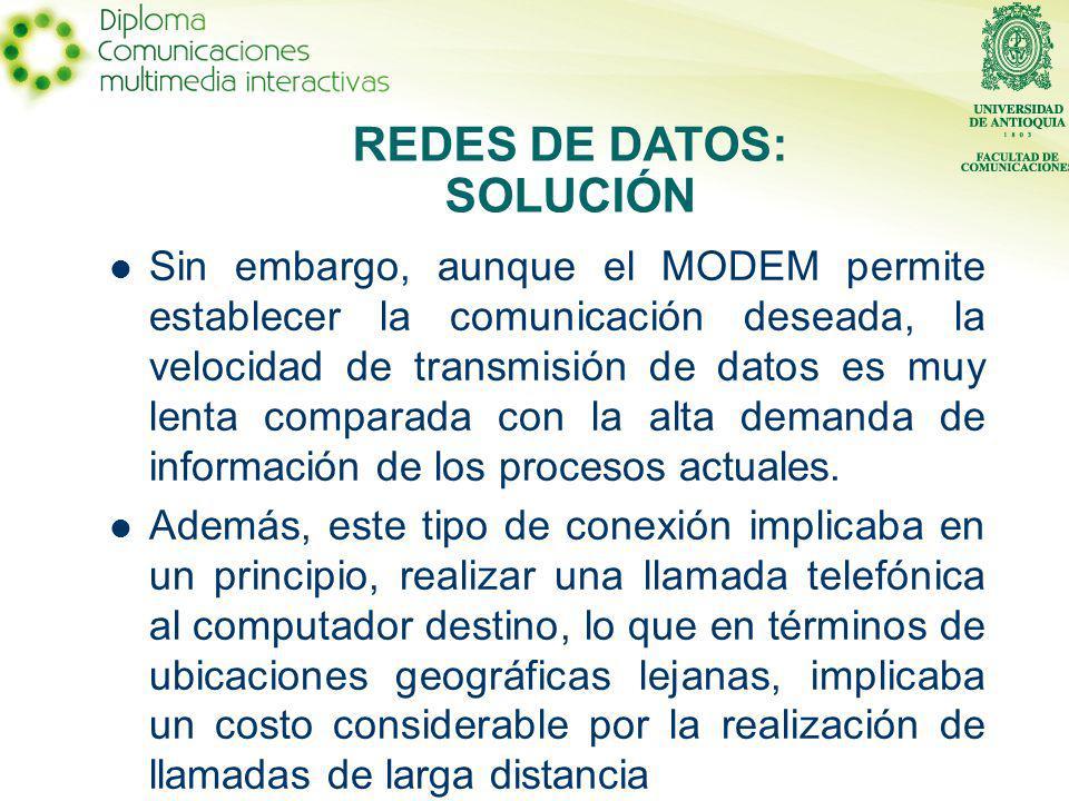 Sin embargo, aunque el MODEM permite establecer la comunicación deseada, la velocidad de transmisión de datos es muy lenta comparada con la alta demanda de información de los procesos actuales.
