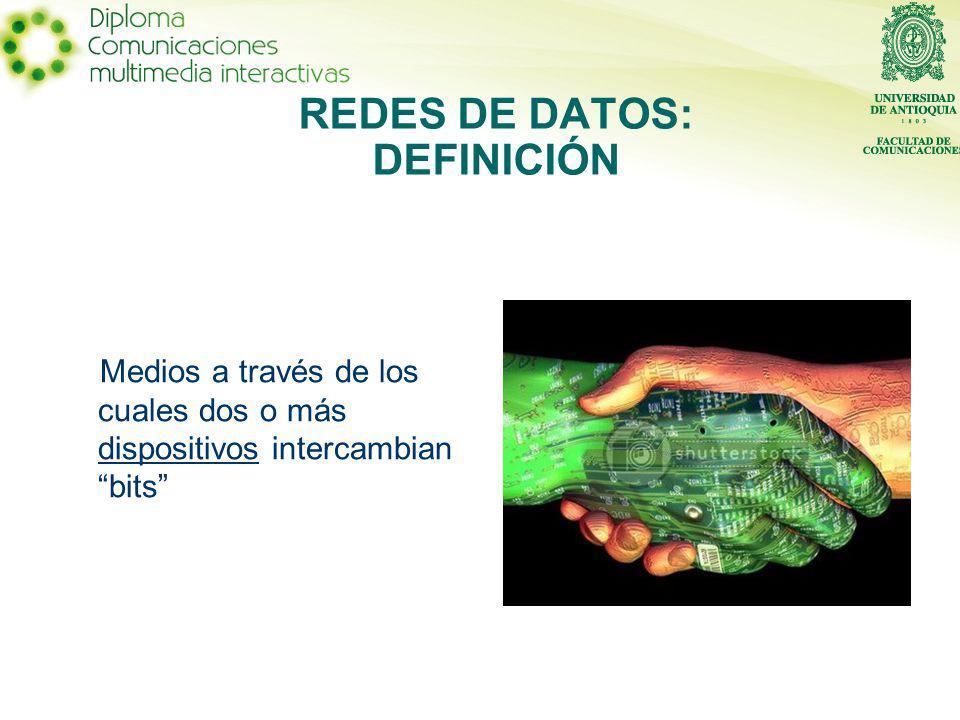 REDES DE DATOS: DEFINICIÓN Medios a través de los cuales dos o más dispositivos intercambian bits