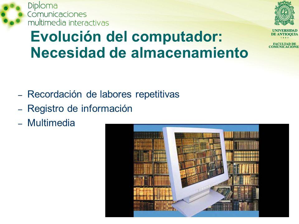 Evolución del computador: Necesidad de almacenamiento – Recordación de labores repetitivas – Registro de información – Multimedia