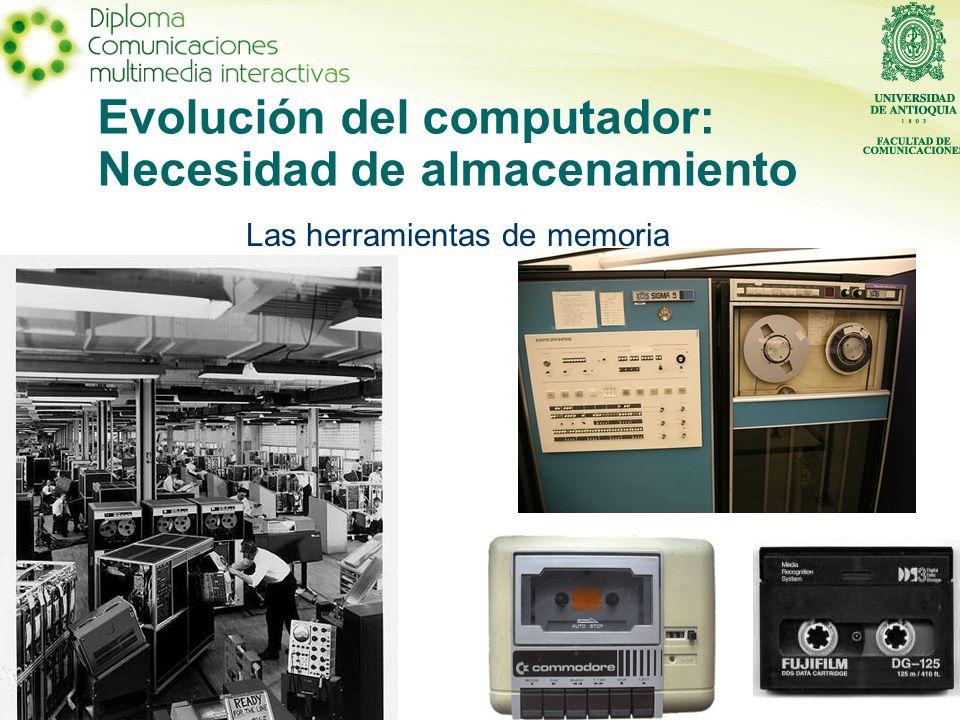 Evolución del computador: Necesidad de almacenamiento Las herramientas de memoria