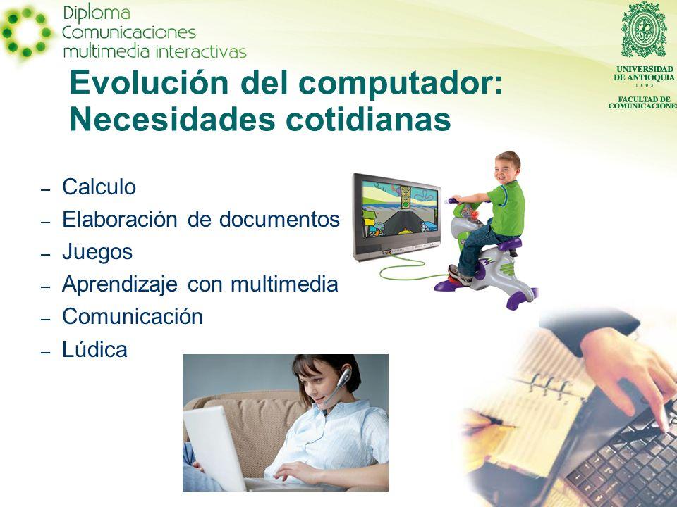 Evolución del computador: Necesidades cotidianas – Calculo – Elaboración de documentos – Juegos – Aprendizaje con multimedia – Comunicación – Lúdica