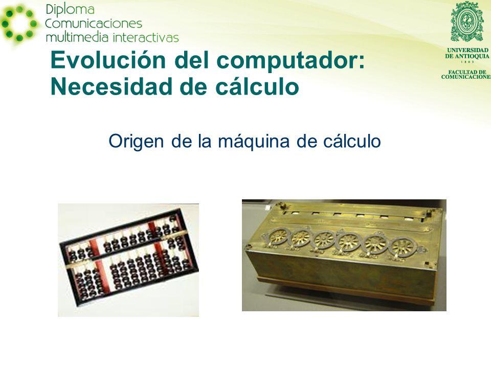 Evolución del computador: Necesidad de cálculo Origen de la máquina de cálculo