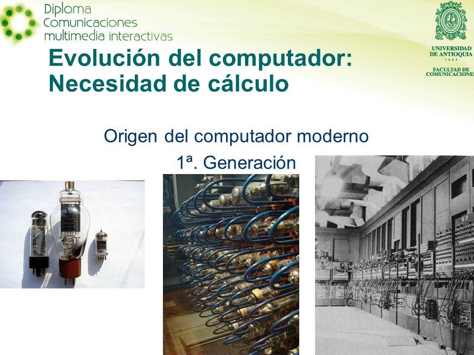 Evolución del computador: Necesidad de cálculo Origen del computador moderno 1ª. Generación