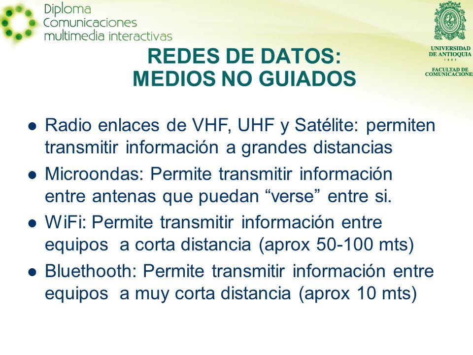 Radio enlaces de VHF, UHF y Satélite: permiten transmitir información a grandes distancias Microondas: Permite transmitir información entre antenas que puedan verse entre si.