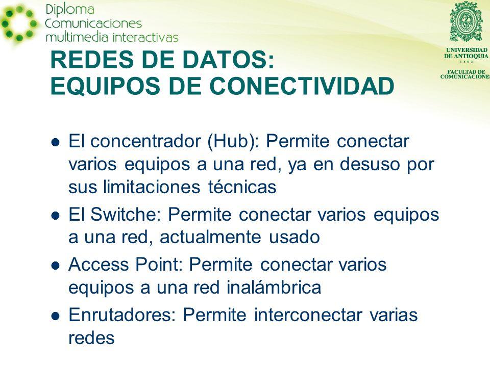 El concentrador (Hub): Permite conectar varios equipos a una red, ya en desuso por sus limitaciones técnicas El Switche: Permite conectar varios equipos a una red, actualmente usado Access Point: Permite conectar varios equipos a una red inalámbrica Enrutadores: Permite interconectar varias redes REDES DE DATOS: EQUIPOS DE CONECTIVIDAD