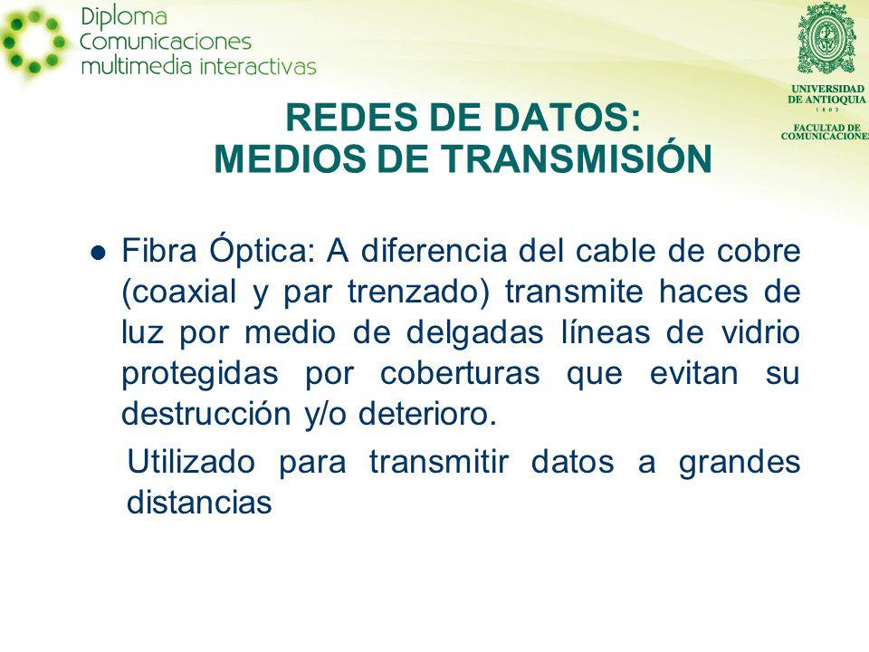 Fibra Óptica: A diferencia del cable de cobre (coaxial y par trenzado) transmite haces de luz por medio de delgadas líneas de vidrio protegidas por coberturas que evitan su destrucción y/o deterioro.