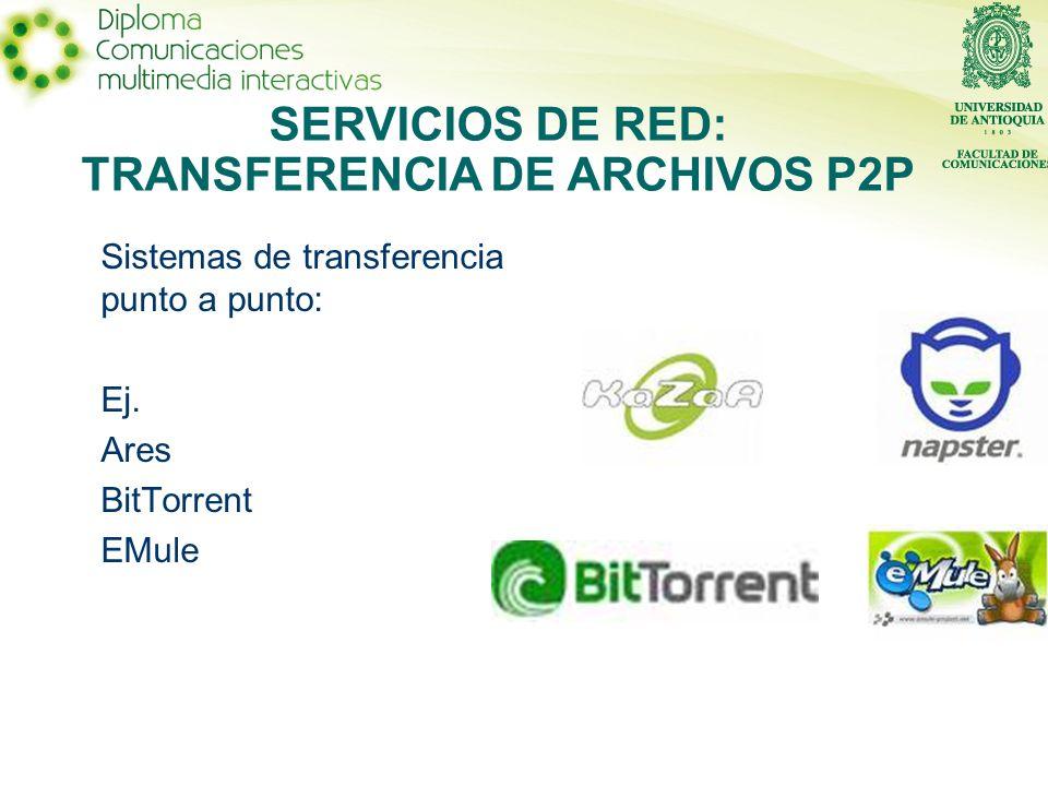 Sistemas de transferencia punto a punto: Ej. Ares BitTorrent EMule SERVICIOS DE RED: TRANSFERENCIA DE ARCHIVOS P2P
