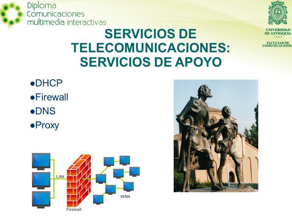 DHCP Firewall DNS Proxy SERVICIOS DE TELECOMUNICACIONES: SERVICIOS DE APOYO