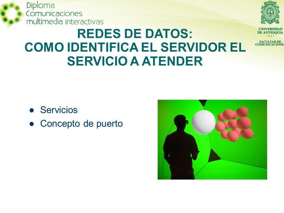 Servicios Concepto de puerto REDES DE DATOS: COMO IDENTIFICA EL SERVIDOR EL SERVICIO A ATENDER