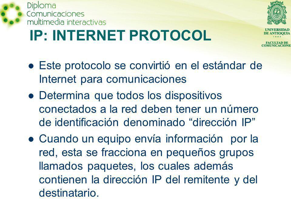 IP: INTERNET PROTOCOL Este protocolo se convirtió en el estándar de Internet para comunicaciones Determina que todos los dispositivos conectados a la red deben tener un número de identificación denominado dirección IP Cuando un equipo envía información por la red, esta se fracciona en pequeños grupos llamados paquetes, los cuales además contienen la dirección IP del remitente y del destinatario.