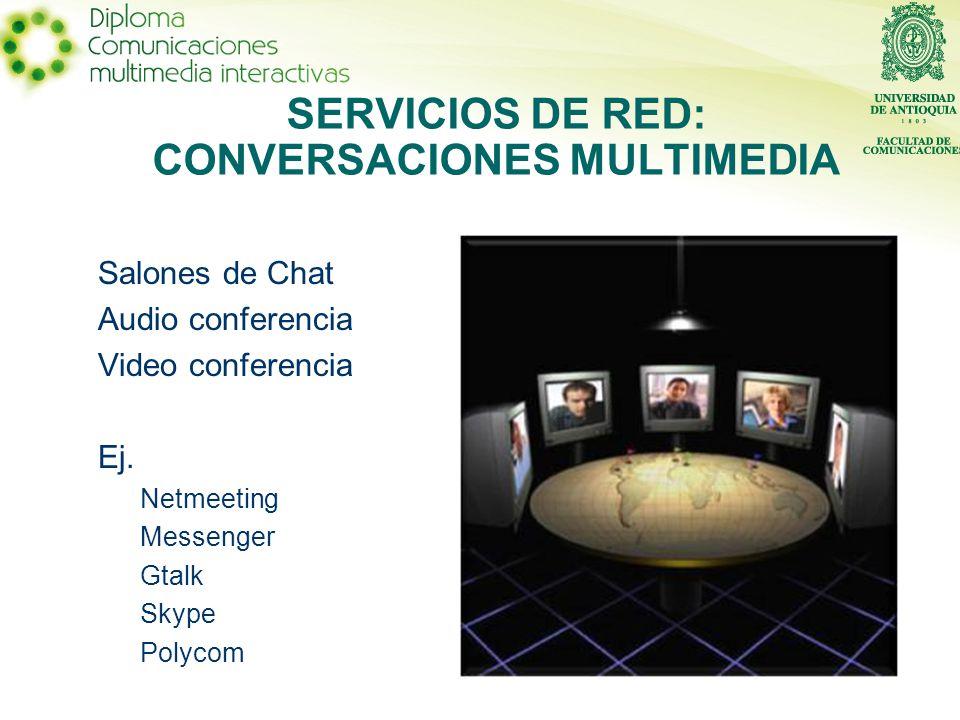 SERVICIOS DE RED: CONVERSACIONES MULTIMEDIA Salones de Chat Audio conferencia Video conferencia Ej.