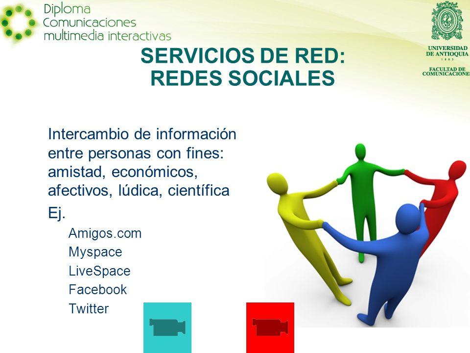 SERVICIOS DE RED: REDES SOCIALES Intercambio de información entre personas con fines: amistad, económicos, afectivos, lúdica, científica Ej.