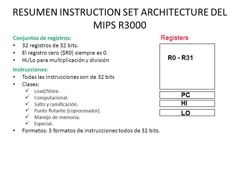 RESUMEN INSTRUCTION SET ARCHITECTURE DEL MIPS R3000 Instrucciones: Todas las instrucciones son de 32 bits Clases: Load/Store. Computacional. Salto y r