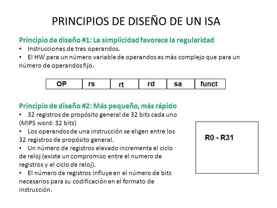 PRINCIPIOS DE DISEÑO DE UN ISA Principio de diseño #1: La simplicidad favorece la regularidad Instrucciones de tres operandos. El HW para un número va