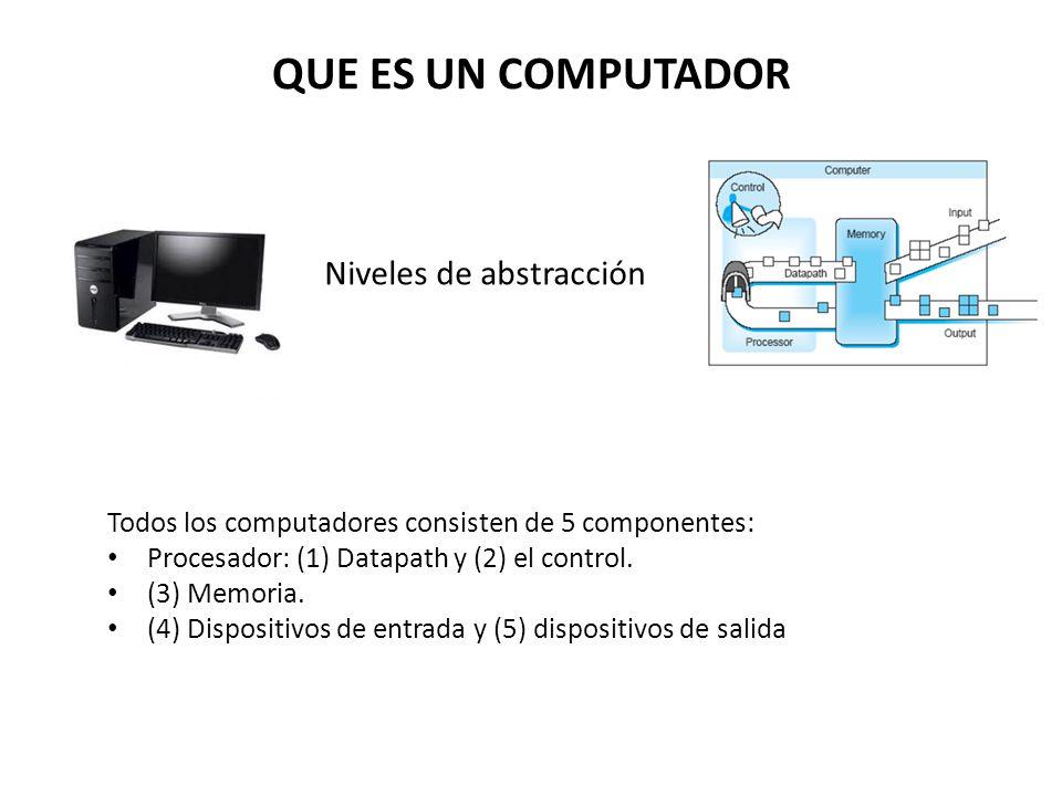 QUE ES UN COMPUTADOR Niveles de abstracción Todos los computadores consisten de 5 componentes: Procesador: (1) Datapath y (2) el control. (3) Memoria.