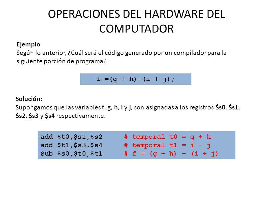 OPERACIONES DEL HARDWARE DEL COMPUTADOR f =(g + h)-(i + j); Solución: Supongamos que las variables f, g, h, i y j, son asignadas a los registros $s0,