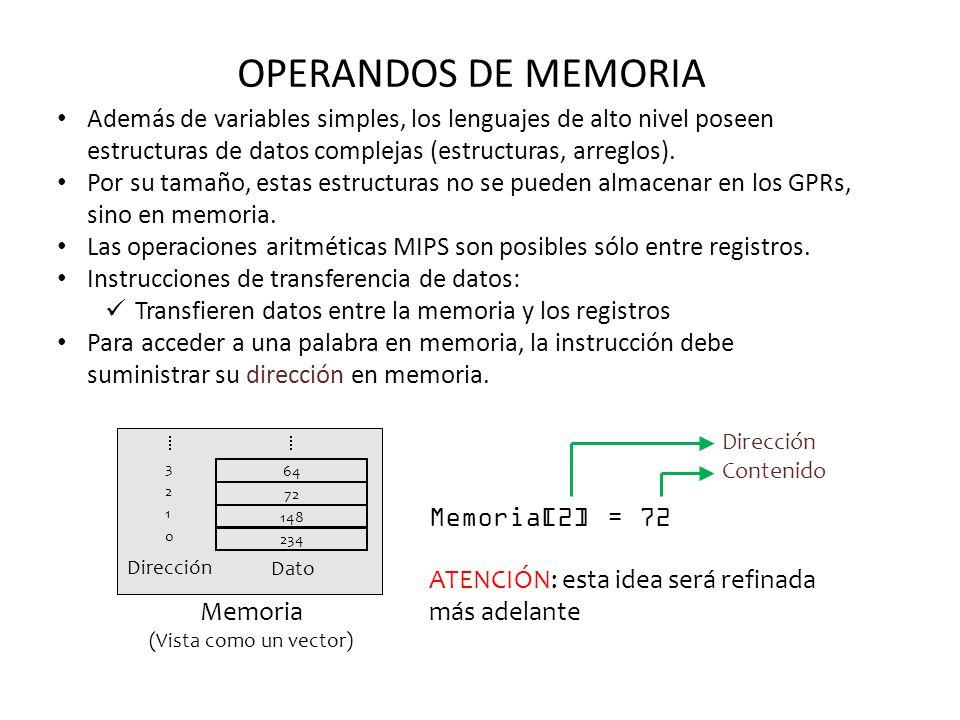 OPERANDOS DE MEMORIA Además de variables simples, los lenguajes de alto nivel poseen estructuras de datos complejas (estructuras, arreglos). Por su ta