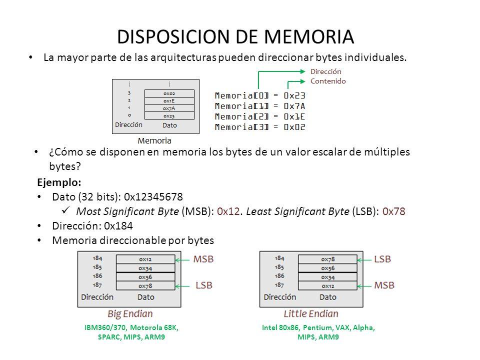 DISPOSICION DE MEMORIA La mayor parte de las arquitecturas pueden direccionar bytes individuales. ¿Cómo se disponen en memoria los bytes de un valor e