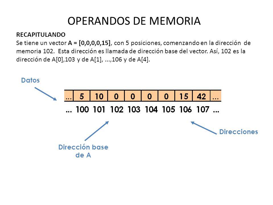 OPERANDOS DE MEMORIA RECAPITULANDO Se tiene un vector A = [0,0,0,0,15], con 5 posiciones, comenzando en la dirección de memoria 102. Esta dirección es