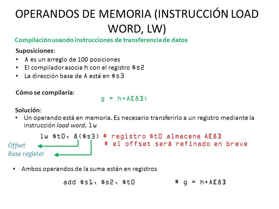 OPERANDOS DE MEMORIA (INSTRUCCIÓN LOAD WORD, LW) Suposiciones: A es un arreglo de 100 posiciones El compilador asocia h con el registro $s2 La direcci