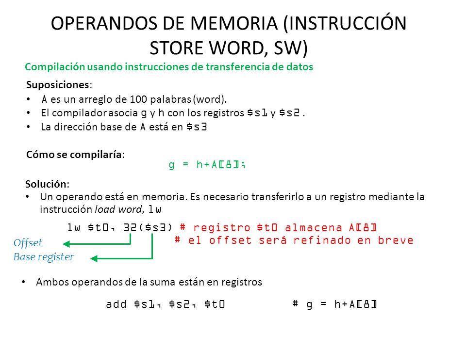 OPERANDOS DE MEMORIA (INSTRUCCIÓN STORE WORD, SW) Suposiciones: A es un arreglo de 100 palabras (word). El compilador asocia g y h con los registros $
