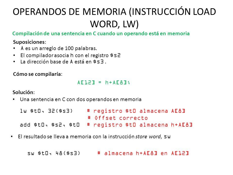 OPERANDOS DE MEMORIA (INSTRUCCIÓN LOAD WORD, LW) Suposiciones: A es un arreglo de 100 palabras. El compilador asocia h con el registro $s2 La direcció