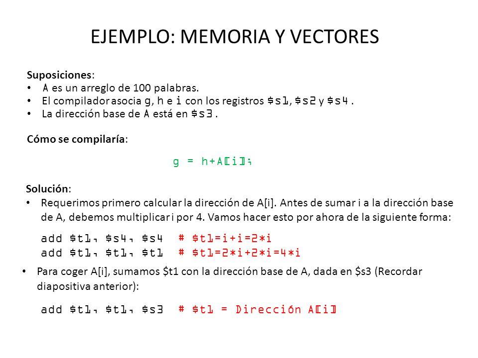 EJEMPLO: MEMORIA Y VECTORES Suposiciones: A es un arreglo de 100 palabras. El compilador asocia g, h e i con los registros $s1, $s2 y $s4. La direcció