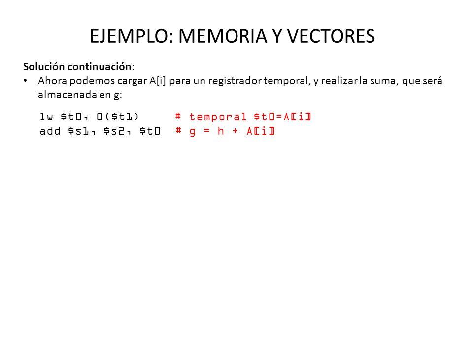 EJEMPLO: MEMORIA Y VECTORES Solución continuación: Ahora podemos cargar A[i] para un registrador temporal, y realizar la suma, que será almacenada en