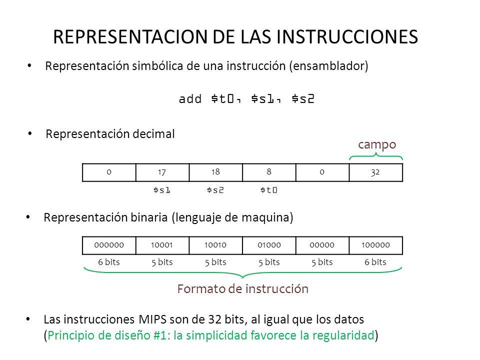 REPRESENTACION DE LAS INSTRUCCIONES Representación simbólica de una instrucción (ensamblador) add $t0, $s1, $s2 Representación decimal 017188032 $s1$s