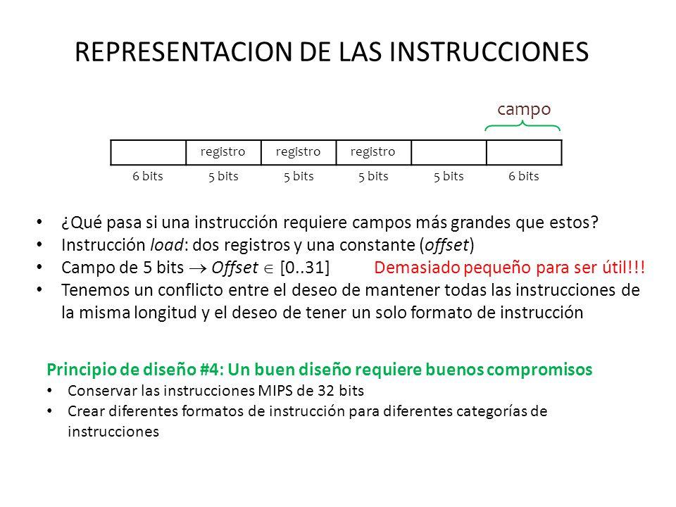 REPRESENTACION DE LAS INSTRUCCIONES ¿Qué pasa si una instrucción requiere campos más grandes que estos? Instrucción load: dos registros y una constant