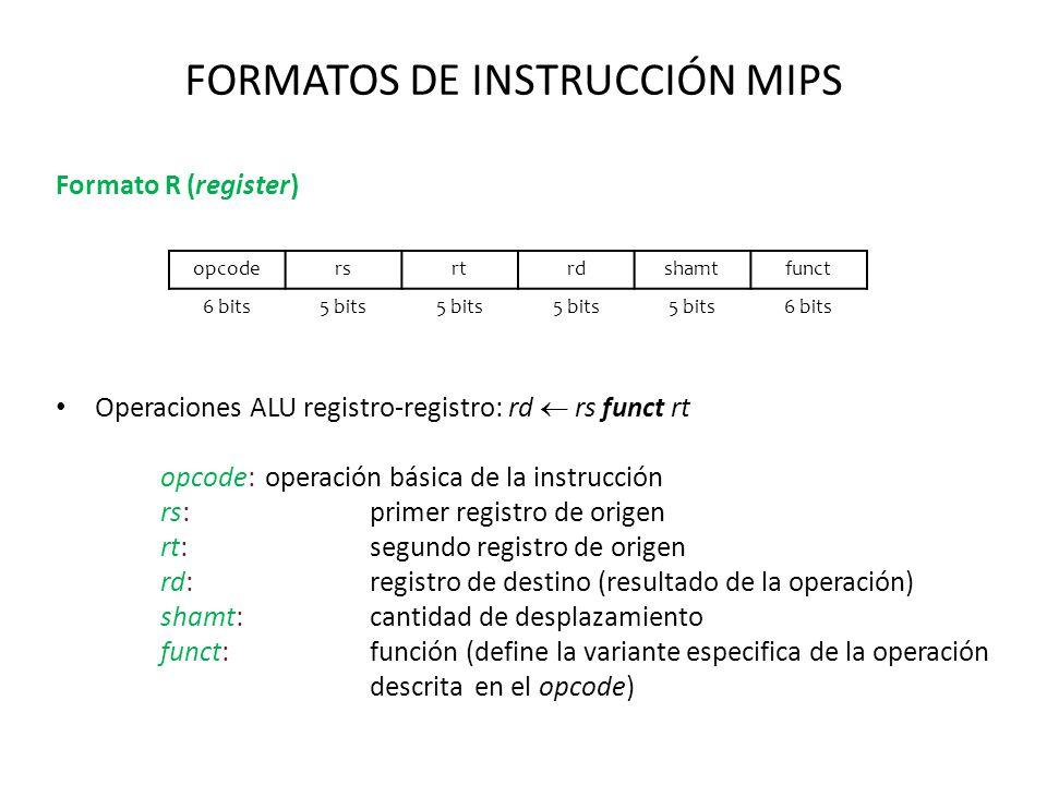 FORMATOS DE INSTRUCCIÓN MIPS Formato R (register) Operaciones ALU registro-registro: rd rs funct rt opcode:operación básica de la instrucción rs:prime