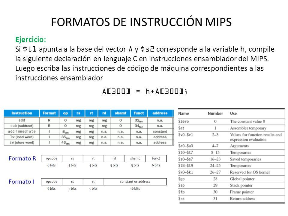 FORMATOS DE INSTRUCCIÓN MIPS Ejercicio: Si $t1 apunta a la base del vector A y $s2 corresponde a la variable h, compile la siguiente declaración en le