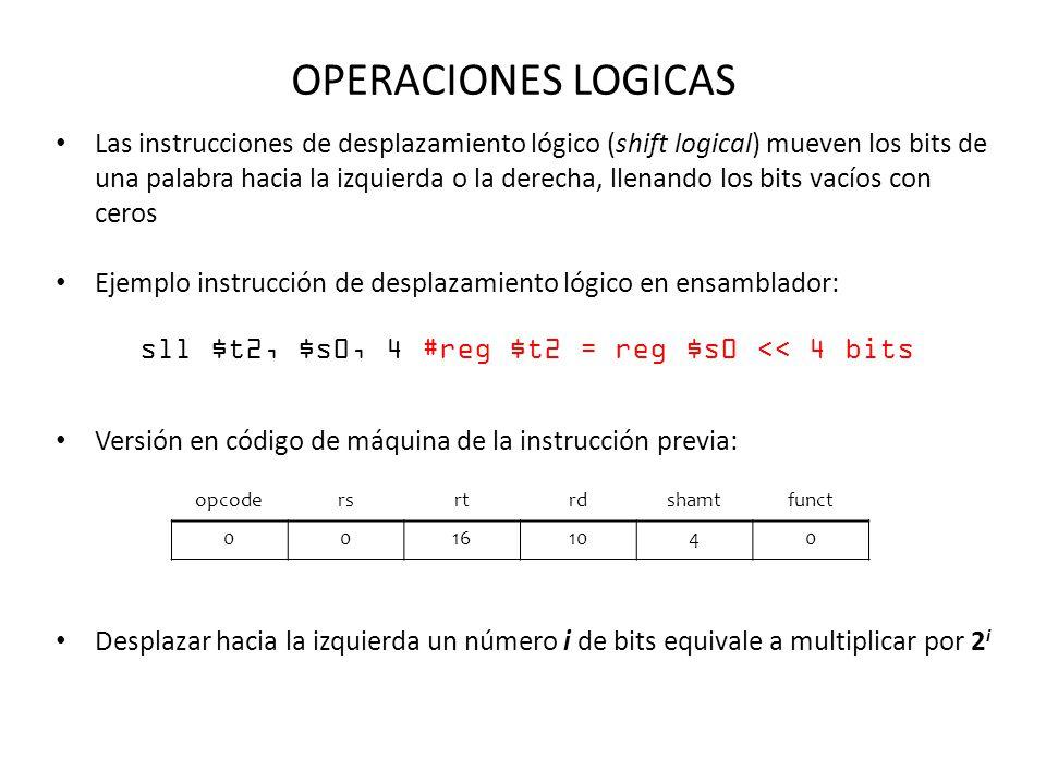 OPERACIONES LOGICAS Las instrucciones de desplazamiento lógico (shift logical) mueven los bits de una palabra hacia la izquierda o la derecha, llenand