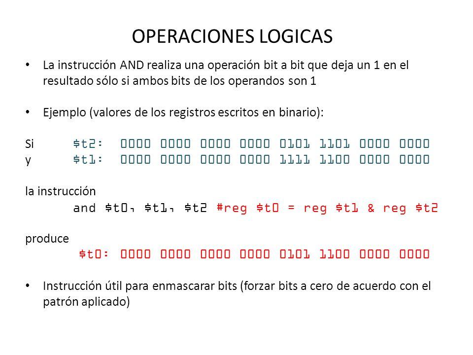 OPERACIONES LOGICAS La instrucción AND realiza una operación bit a bit que deja un 1 en el resultado sólo si ambos bits de los operandos son 1 Ejemplo