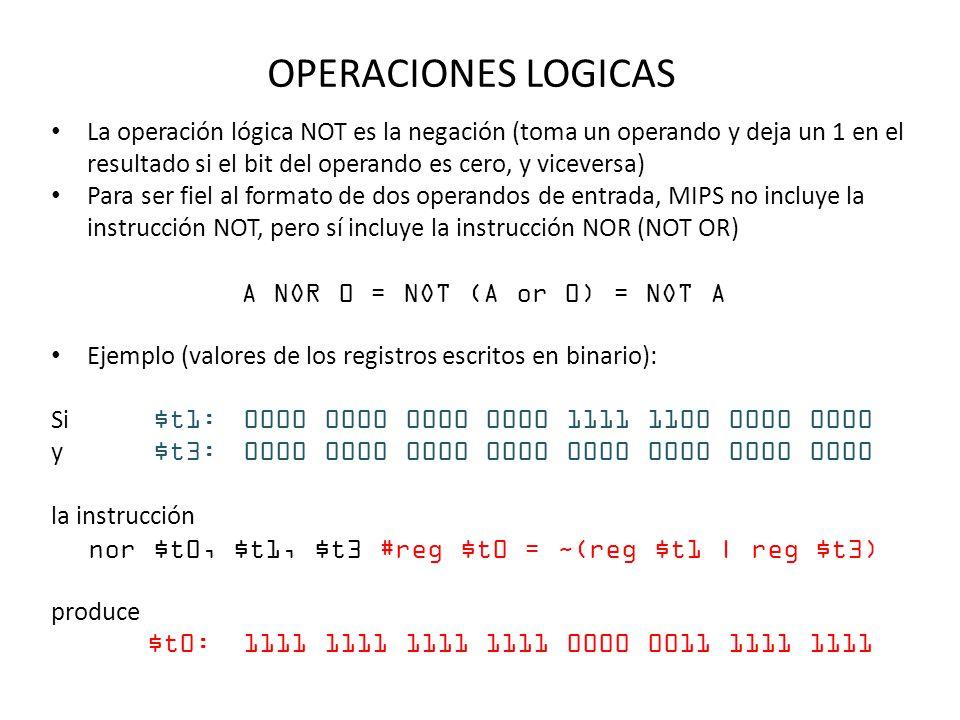 OPERACIONES LOGICAS La operación lógica NOT es la negación (toma un operando y deja un 1 en el resultado si el bit del operando es cero, y viceversa)
