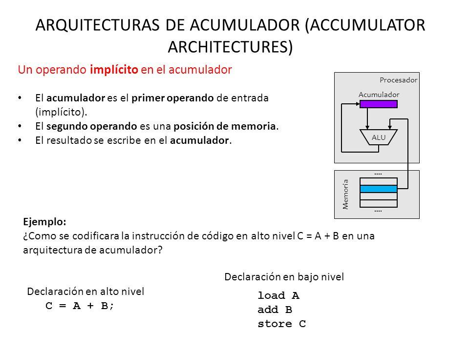 ARQUITECTURAS DE ACUMULADOR (ACCUMULATOR ARCHITECTURES) Un operando implícito en el acumulador El acumulador es el primer operando de entrada (implíci