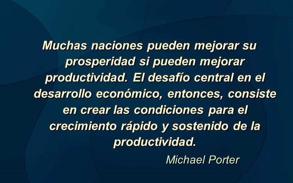 Muchas naciones pueden mejorar su prosperidad si pueden mejorar productividad. El desafío central en el desarrollo económico, entonces, consiste en cr