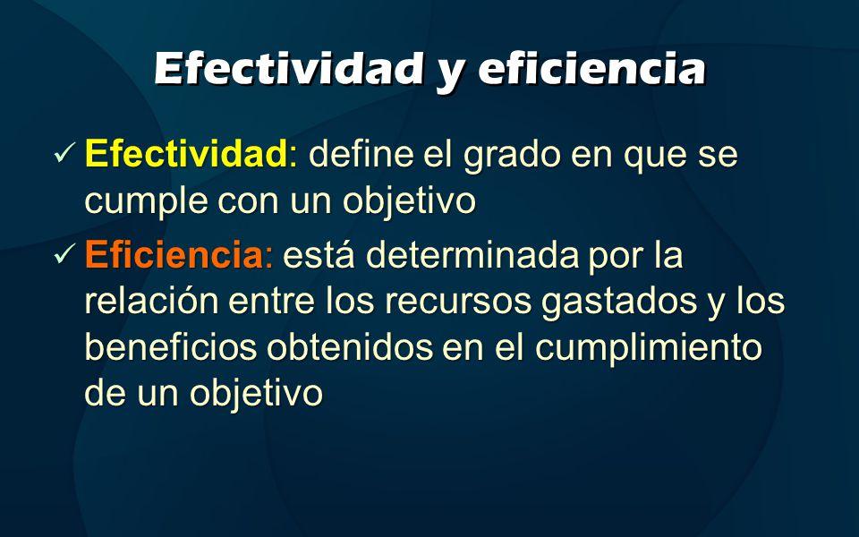 Efectividad y eficiencia Efectividad: define el grado en que se cumple con un objetivo Efectividad: define el grado en que se cumple con un objetivo E