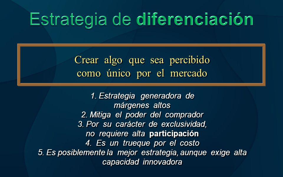 Estrategia de enfoque o segmentación Enfoque sobre un grupo de Compradores en particular Enfoque sobre un grupo de Compradores en particular Objetivo particular Se obtiene la diferenciación o el Costo en el y no en la totalidad Del mercado Se obtiene la diferenciación o el Costo en el y no en la totalidad Del mercado