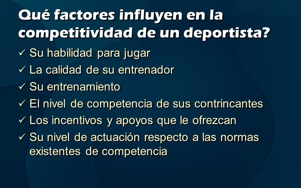 Qué factores influyen en la competitividad de un deportista? Su habilidad para jugar La calidad de su entrenador Su entrenamiento El nivel de competen